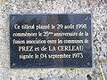 Prez (Ardennes) et La Cerlau, plaquette commémorative tilleul fusion.jpg