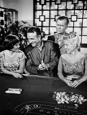 "Dane Clark - Left to right: Christine Moore, Dane Clark, Buddy Ebsen and Jane Burgess in ""The Prime Mover"", a 1961 episode of The Twilight Zone"