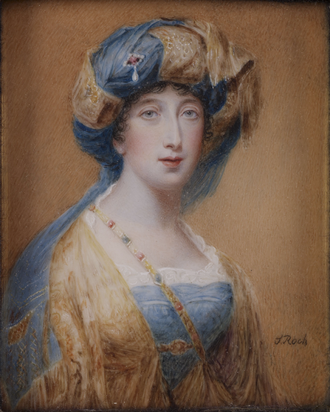 Sampson Towgood Roch - Priscilla, Lady Willoughby de Eresby, miniature by Roch, ca. 1815