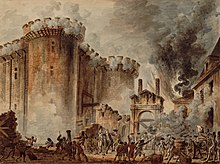 On the left-hand side of the painting, a building with towers is being attacked and is bathed in flames. On the right-hand side, black smoke billows around. At the base of the piece, small people are fighting and destroying the building brick by brick.