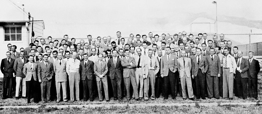A group of 104 rocket scientists (aerospace engineers) at Fort Bliss, Texas Project Paperclip Team at Fort Bliss.jpg