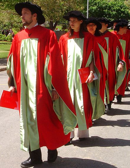 PhD candidates march at Commencement in McGill's distinctive scarlet regalia. Proud graduates.jpg