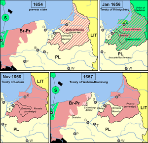 Treaty of Labiau - The Duchy of Prussia as a Polish fief before the Second Northern War and as a Swedish fief after the Treaty of Königsberg.  Sweden granted sovereignty in Labiau and Poland-Lithuania in the Treaty of Wehlau-Bromberg.