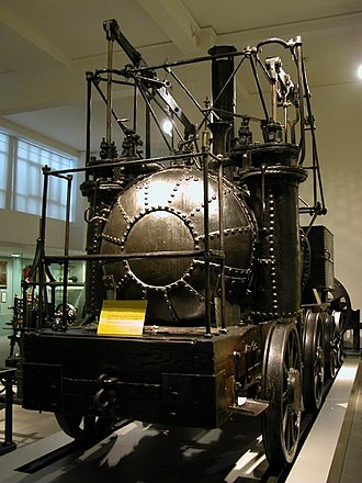 Flued boiler - Puffing Billy of 1813, showing the domed end of its return-flue boiler (centre of picture)