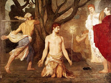 Puvis de Chavannes, The Beheading of St John the Baptist, c. 1869 Puvis de Chavannes, Pierre-Cecile - The Beheading of St John the Baptist - c. 1869.jpg