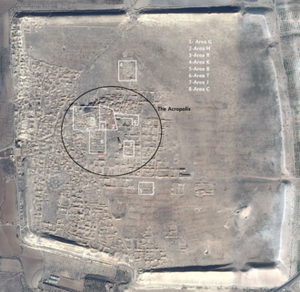 Qatna - A satellite image of Qatna with the archaeological sites marked