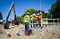Quality checking River Park seepage cutoff wall (14849468200).jpg