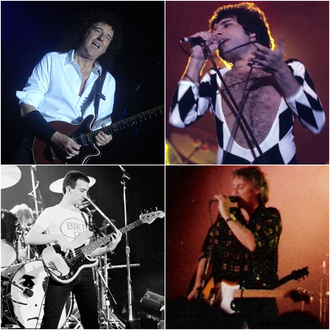 Queen (band) - Top: Brian May, Freddie Mercury   Bottom: John Deacon, Roger Taylor