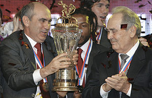 FC Rubin Kazan - Kurban Berdyev and Tatarstan President Mintimer Shaimiev with the Russian Premier League Champions Cup during the ceremony of awarding FC Rubin with the Russian Premier League gold medals