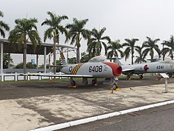 ROCAF F-86 6408 in Military Airplanes Display Area 20111015.jpg
