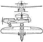 Raab-Katzenstein RK.25 3-view Aero Digest October 1929.png
