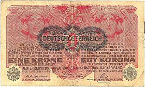 "Republic of German-Austria - One-krone banknote, overprinted with the name Deutschösterreich (""German-Austria"")."