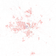Map Of Racial Distribution In Des Moines 2010 U S Census Each Dot Is 25 People White Black Asian Hispanic Or Other Yellow