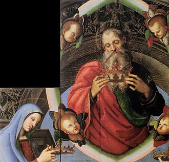 Baronci Altarpiece - Image: Raffaello, God the Father and the Virgin Mary