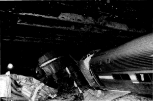 1990 Back Bay, Massachusetts train collision - A derailed Amfleet coach from the Night Owl.