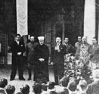 Rashid Ali al-Gaylani - Rashid Ali al-Gaylani and Haj Amin al-Husseini, speaking at the anniversary of the 1941 Iraqi coup in Berlin