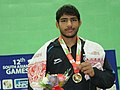 Ravinder (India) won the gold medal in 57Kg Men's wrestling, at 12th South Asian Games-2016, in Dispur, Guwahati on February 06, 2016.jpg