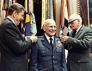 Reagan Goldwater pin star on Jimmy Doolittle 1985