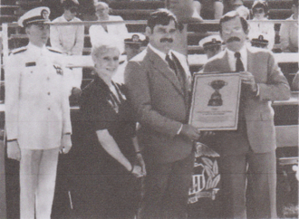 Thomas A. King - At viewer's far left, Rear Admiral Thomas A. King, 6th Superintendent of the United States Merchant Marine Academy, at awards ceremony