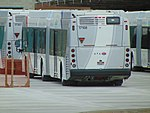 Rear view of a new New Flyer XDE60 bus for the Provo Orem MAX, Dec 17.jpg