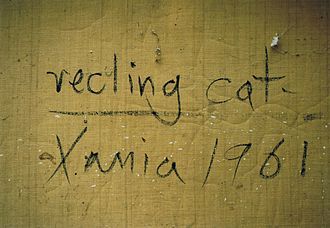 John Craxton - The back of Craxton's recling cat Xania 1961