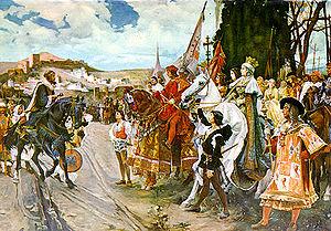 La rendición de Granada a los Reyes Católicos, de Francisco Pradilla, reconstrucción idealizada característica de la pintura historiográfica española del siglo XIX