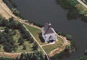 Csenger District - Image: Református templom, légifotó, Csengersima