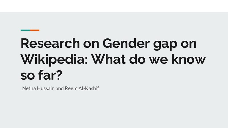 File:Research on Gender gap on Wikipedia What do we know so far.pdf