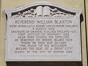 William Blaxton - Image: Reverend William Blaxton plaque, Boston, MA DSC00183