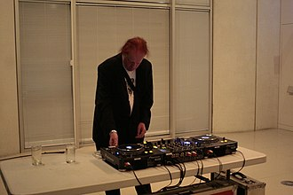 Richard Kirk - Richard H. Kirk performing as DJ at Music for Real Airports event in Sheffield (2010)