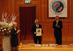Right Livelihood Award - The 2009 award is presented to David Suzuki by Jakob von Uexkull (right) and European Commissioner Margot Wallström (left)