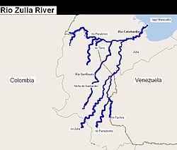 El río con sus principales tributarios.
