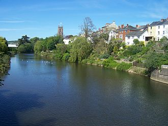 Tiverton, Devon - View from the bridge over the Exe which looks towards the historic St Peter's church.