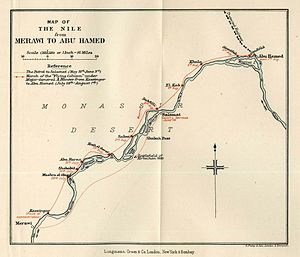 Battle of Abu Hamed - A map from Winston Churchill's The River War depicting the march of General-Major Hunter's flying column from Merawi to Abu Hamed.