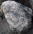 Rocky Mountain National Park in September 2011 - banded gneiss rock near Bear Lake.JPG