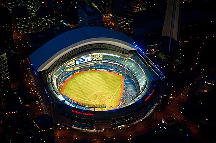 Evening baseball game from above Rogers Centre May 2011.jpg