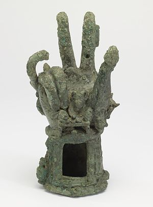 Sabazios - This copper alloy Roman hand of Sabazios was used in ritual worship. Few hands remain in collections today. Walters Art Museum, Baltimore.