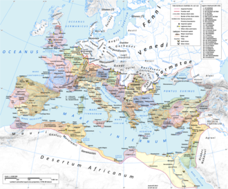 Roman province - The Roman empire under Hadrian (125) showing the provinces as then organised