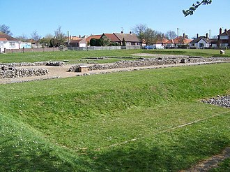 Caister Roman Site - A view of the site, from the south west corner of the outer ditch, and looking northeast