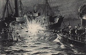 Romanian torpedo boat Rândunica attacks the Ottoman monitor Seyfi.jpg