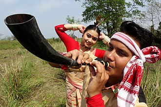 Bihu - Youths perform the Bihu dance on the occasion of Rongali Bihu festival