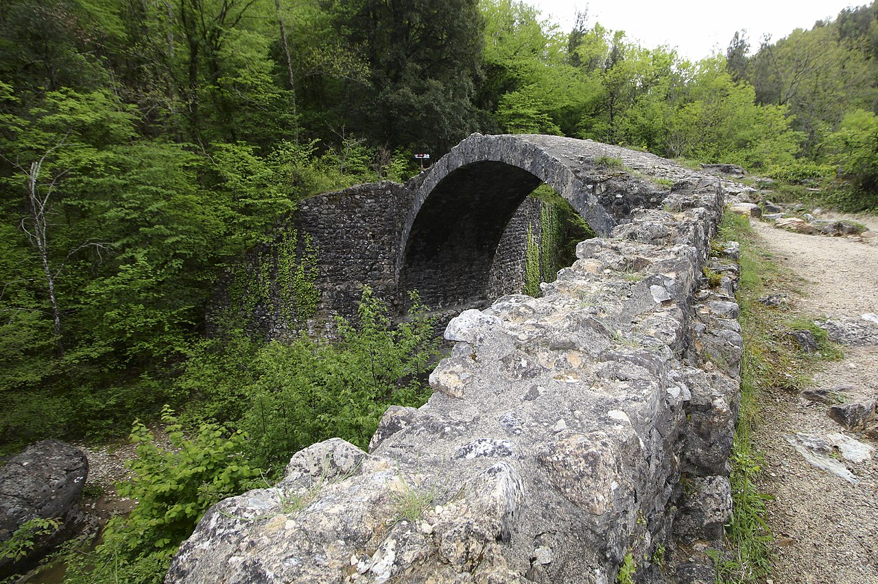 Bridge Ponte della Pia seen from the North, near Rosia, hamlet of Sovicille, Province of Siena, Tuscany