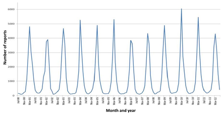 The seasonal variation of rotavirus A infections in England: rates of infection peak during the winter months.[120]