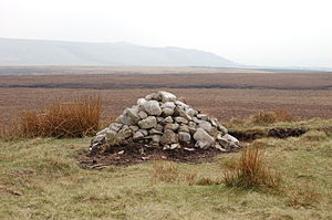 Round Loaf - The cairn on Round Loaf on Anglezarke Moor, looking towards Winter Hill