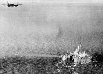 RAF Coastal Command - A De Havilland Mosquito of the RAF Banff Strike Wing attacking a convoy evacuating German troops from Kattegat on 5 April 1945. A flak ship and a trawler were sunk