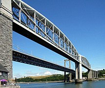 Royal Albert and Tamar Bridge from Cornwall.jpg