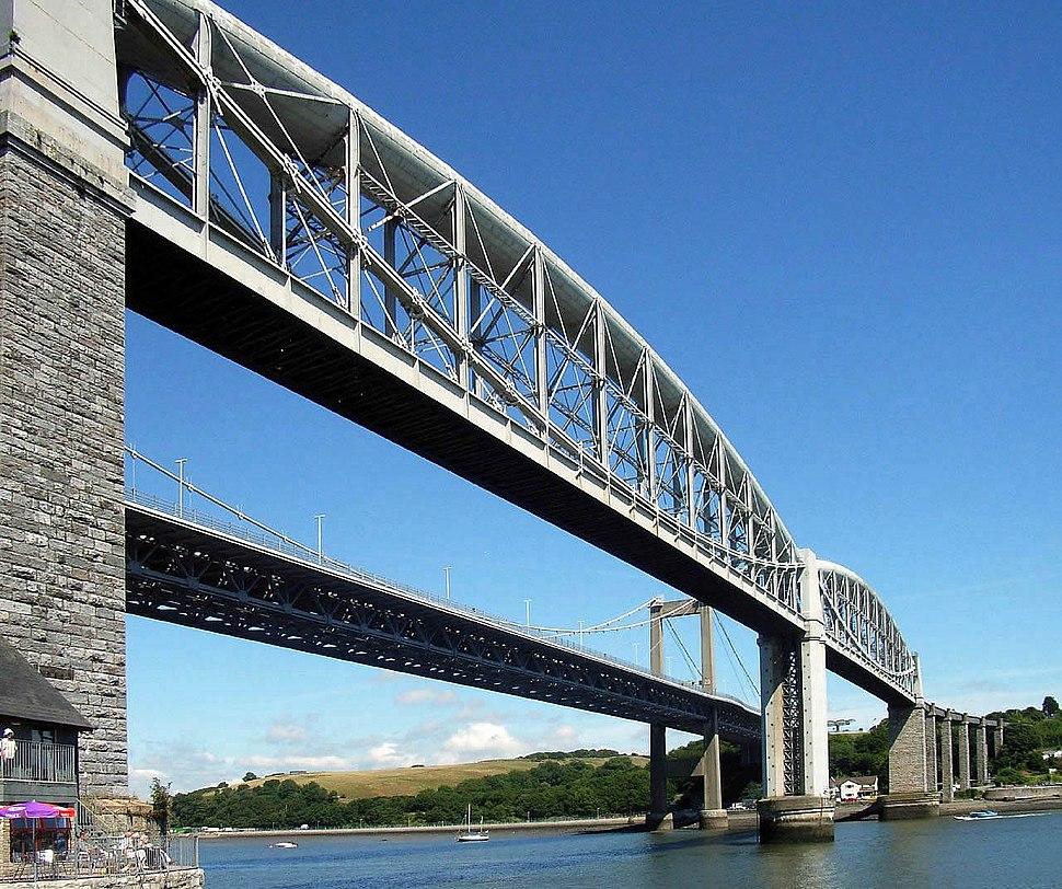 Royal Albert and Tamar Bridge from Cornwall