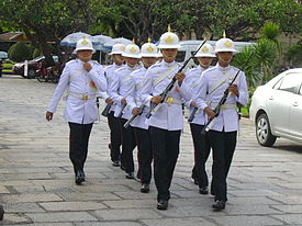 Royal guard march to change guard in the Grand Palace, Thailand