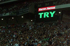 Instant replay - The video referee confirms a Try during an Australia vs Great Britain match in the 2006 Rugby League Tri-Nations