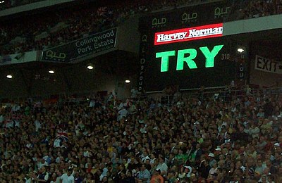 The screen is used to signal the video referee's decisions. Unlike other sports, the video screen in the venue makes the announcement, not the referee. Rugby league video referee aus vs gb 18-11-06.jpg